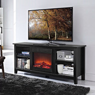 2-in-1 Black Wood TV Stand with Electric Fireplace Space Heater BWFH51984544