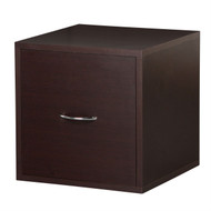 Solid Wood Frame Modular File Cabinet Storage Cube in Espresso FMFC39915