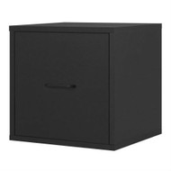 Modular File Cabinet Storage Cube in Black Wood Finish MFCB359715