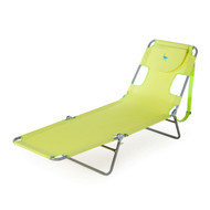 Green Chaise Lounge Beach Chair Recliner with Cotton Towel GCLBC518945