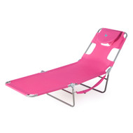Pink Outdoor Chaise Lounge Beach Chair with 3 Recline Positions PCLR5189841