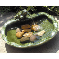 Green Glazed Ceramic Fountain Bird Bath with Frog and Solar Pump CFG8841651