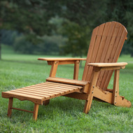 Outdoor Adirondack Chair Recliner with Slide-Out Ottoman in Kiln-Dried Fir Wood CBDTWAC5879241