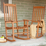 Set of 2 - Indoor/Outdoor Patio Porch Natural Slat Rocking Chairs MCSNS1499