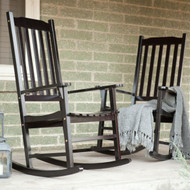 Set of 2 - Indoor/Outdoor Patio Porch Black Slat Rocking Chairs MCSBL1499