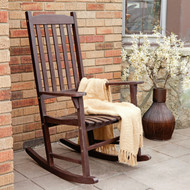 Indoor/Outdoor Patio Porch Dark Brown Slat Rocking Chair MCSDB1488