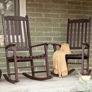 Set of 2 - Indoor/Outdoor Patio Porch Dark Brown Slat Rocking Chairs MCSDB1499