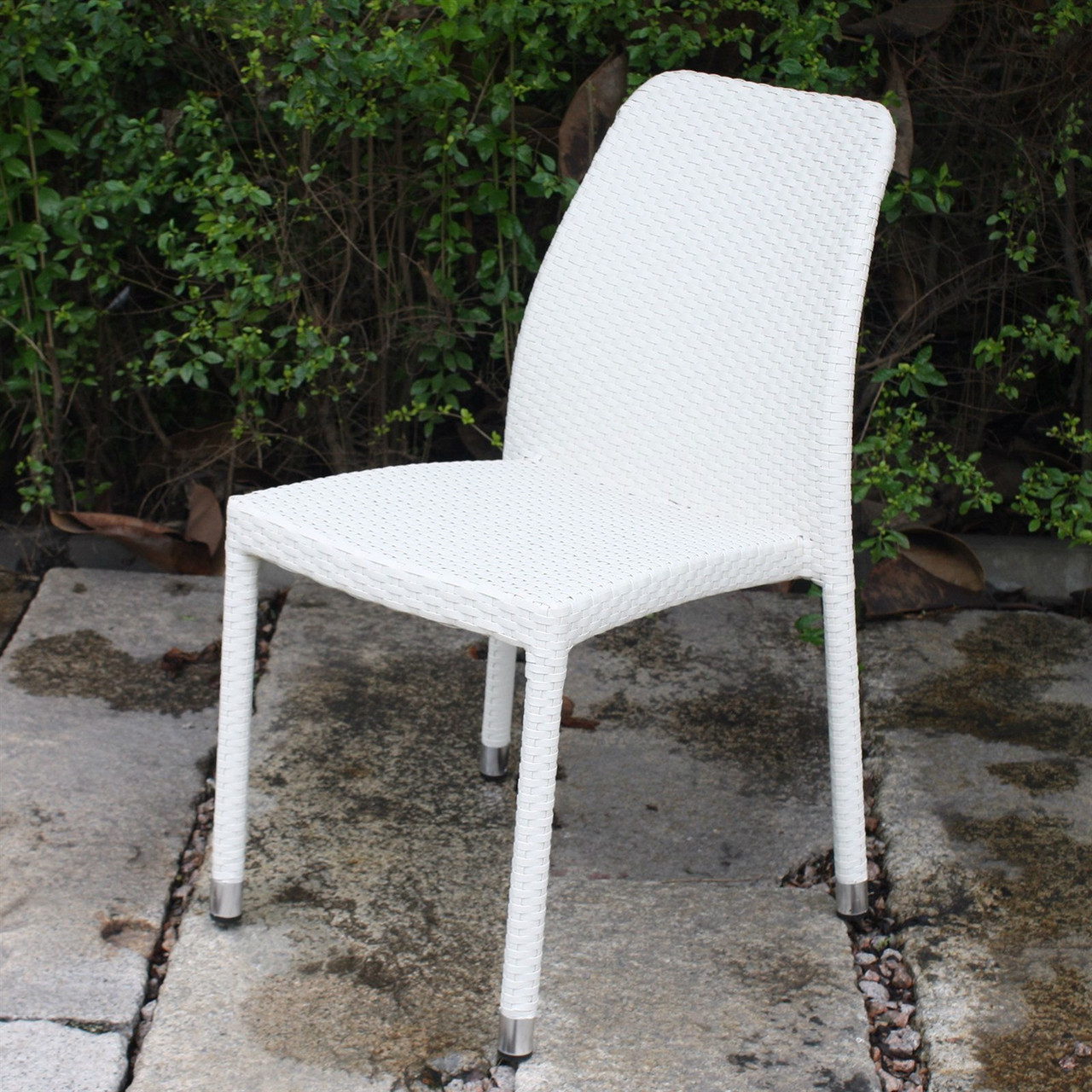 Pleasant Outdoor Stacking Patio Dining Chair All Weather White Wicker Resin Alphanode Cool Chair Designs And Ideas Alphanodeonline