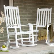 Set of 2 - Indoor/Outdoor Patio Porch White Slat Rocking Chairs MCSWH1499