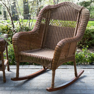 Indoor/Outdoor Patio Porch Walnut Resin Wicker Rocking Chair WICDB1488