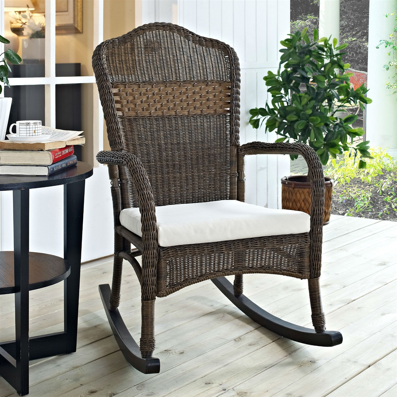 Prime Indoor Outdoor Patio Porch Mocha Wicker Rocking Chair Beige Cushion Spiritservingveterans Wood Chair Design Ideas Spiritservingveteransorg
