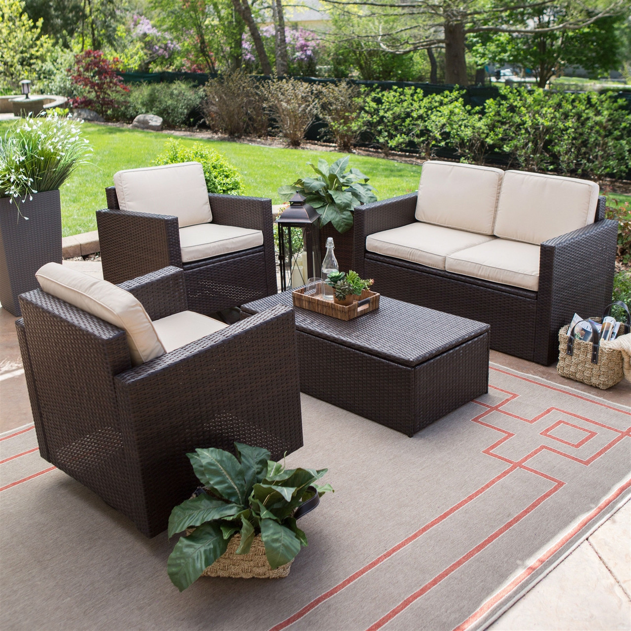4 PC Patio Furniture Dining Set, 2 Chairs, Loveseat, Coffee Table