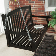 Outdoor Eco-Friendly 4-Ft Wood Porch Swing in Black CBPS1984112