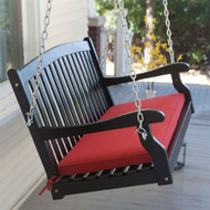 Black Wood 4-Ft Porch Swing with Brick Red Cushion and Hardware CPWS519812