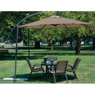 10 Foot Mocha Offset Patio Canopy Umbrella Rotates 360 Degrees 10CUMP1488