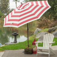 7.5-Ft Patio Umbrella in Red and White Stripe Outdoor Fabric and Metal Pole RWSPUMS598716
