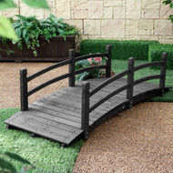 6-Ft Outdoor Wooden Garden Bridge with Handrails in Dark Charcoal Wood Stain CHWGB2519841
