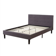 King Grey Linen Upholstered Platform Bed with Tufted Padded Headboard KUPBVC59841