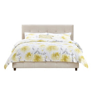 Queen Tan Linen Upholstered Platform Bed Frame with Button Tufted Headboard QTUBQ5198548