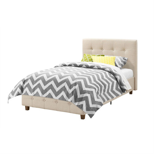 Twin size Tan Linen Upholstered Platform Bed Frame with Button-Tufted Headboard RLTB15984521