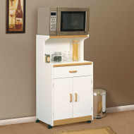 White Microwave Cart with Natural Wood Finish Accents and Sturdy Dual Wheel Casters SUOVC987541