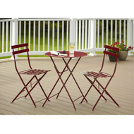 Red 3-Piece Folding Outdoor Patio Furniture Bistro-Style Table and Chairs Set RCBP514895-3