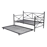 Twin size Contemporary Daybed and Trundle Set in Black Metal Finish ZDSD19018