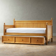 Twin size Contemporary Daybed with Roll-Out Trundle Bed in Maple Wood Finish FBGTD519871