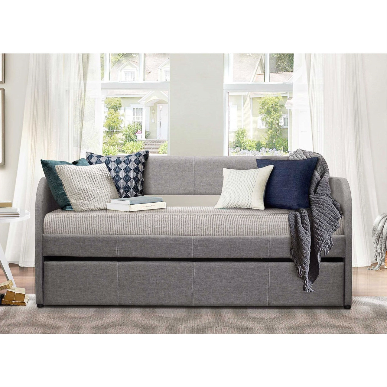 - Twin Modern Grey Fabric Upholstered Daybed With Trundle