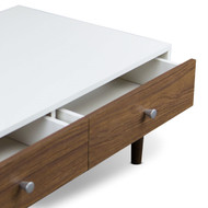 Modern Mid-Century Style White Wood Coffee Table with 2 Drawers BSCT1982484712