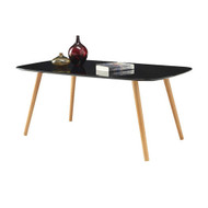 Modern Classic Mid-Century Style Black Top Coffee Table with Solid Wood Legs MCOFCEG5981721