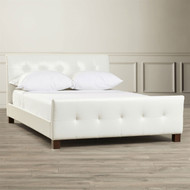 Full Modern White Faux Leather Platform Bed with Padded Headboard and Footboard BSAMPB2582014