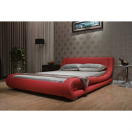 California King Red Faux Leather Upholstered Platform Bed with Modern Curved Headboard CAKRUPB578912
