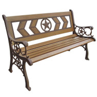 2-Seat Outdoor Metal and Wood Garden Park Bench DCATB138