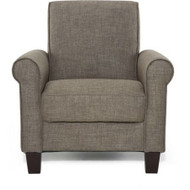 Moss Brown Linen Fabric Upholstered Arm Chair with Wood Legs MLRAC9875484