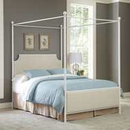 Queen size Metal Canopy Bed with Off White Beige Headboard Footboard WCBLSN59878125