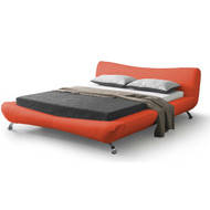 King size Red Faux Leather Platform Bed with Modern Upholstered Headboard KFLBPR58915812