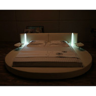 King size Round White Faux Leather Platform Bed with LED Headboard and Nightstands KTBMB7295841