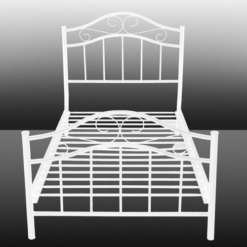 Twin size Metal Platform Bed Frame with Headboard and Footboard in White TBCPLMBC986251