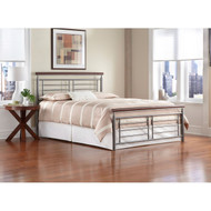 California King size Contemporary Metal Bed in Silver / Cherry Finish DEDCD34599