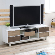 Modern 70-inch White TV Stand Entertainment Center with Natural Wood Accents EMTVS70968541