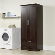 Bedroom Wardrobe Armoire Cabinet in Dark Brown Oak Wood Finish SHPWC19874812