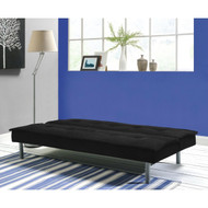 Black Microfiber Upholstered Futon Sofa Bed with Metal Legs DKFBC5198751