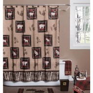 Rustic Log Cabin Wilderness Shower Curtain in Polyester Fabric RSLCW198741