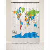 World Map Atlas Countries Oceans Map Shower Curtain SKWSC1985712