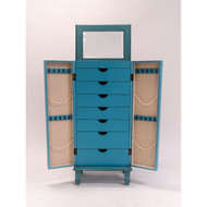 Vintage Turquoise Hand Painted Jewelry Armoire with Antique Drawer Pulls HVAT129851862