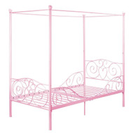 Twin size Sturdy Metal Canopy Bed in Pink PCBDHCE9847142
