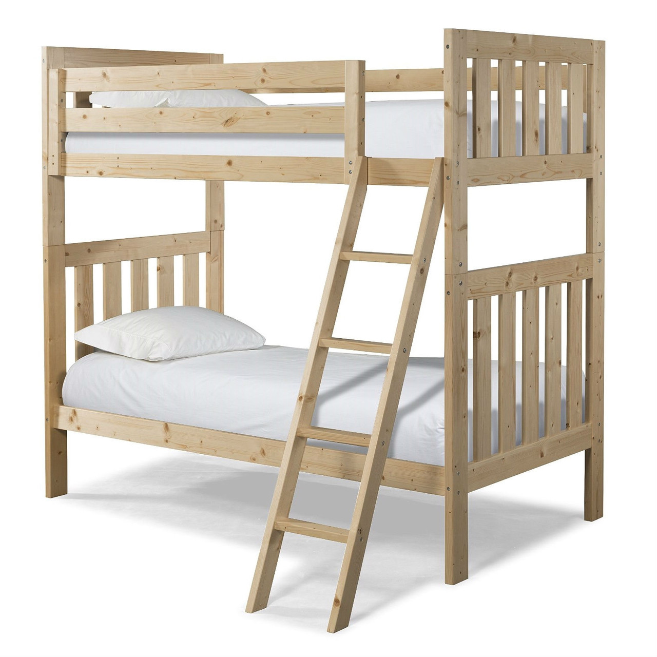 Picture of: Twin Over Twin Natural Pine Wood Bunk Bed With Ladder
