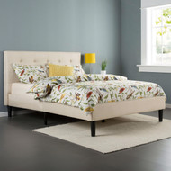Twin size Contemporary Classic Taupe Fabric Upholstered Platform Bed with Tufted Headboard ZTPBT98877462