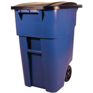 50 Gallon Blue Commercial Heavy-Duty Rollout Trash Can Waste/Utility Container E24GKC88311